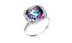6.00 CTTW Women's Genuine Mystic Quartz Ring - Sterling Silver - Size: 7