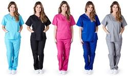 Women's Medical Scrub Set: Hot Pink / XL