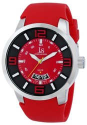 Joshua & Sons Men's JS64RD Silver-Tone Watch with Red Silicone Band