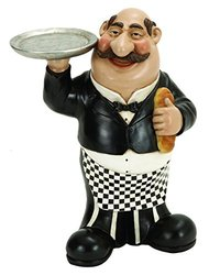 Benzara Woodland Imports French Fat Chef with Serving Tray & Bread