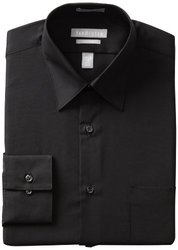 Van Heusen Men's Poplin Dress Shirt - Black - Size: 16 x 34/35