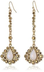Jessica Simpson Linear Cab and Stone Drop Earrings