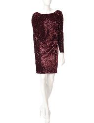 Chetta B Women's Velvet Sequin Merlot Dress - Red - Size: 8