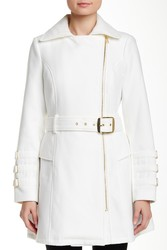 Steve Madden Women's Asymmetrical Zipper Trench Coat - Ivory - Size: M