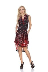 Zuri Dotted Print Tunic Dress: Black-red/l