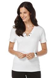 Rafaella Women's Solid Chain Neck Top - White - Size: X-Large