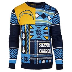 NFL San Diego Chargers Patches Ugly Sweater, Blue, Small