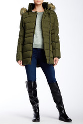 Steve Madden Faux Fur Women's Zipper Puffer Coat - Olive - Size: Large