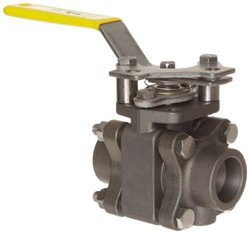 """Apollo 83B-240 Series Carbon Steel Ball Valve with Stainless Steel 316 Ball and Stem, Three Piece, Inline, Class 600, Lever, 1"""" Socket Weld"""