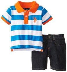 Baby Boys' Wide Stripe Pique Polo & Denim Short - Orange - Size: 12 Months