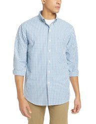 IZOD Men's Essential Tattersal Shirt - American Dream Blue - Size: 2XL