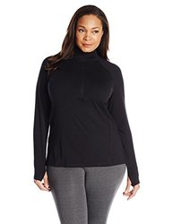 tasc Performance Plus Size Triumph Half Zip Pullover Jacket, Black, 1X (16-18)