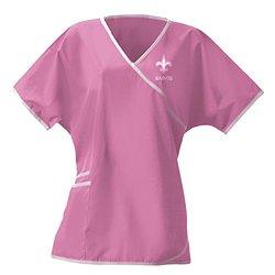 NFL League Logo Women's Wrap Scrub Top - Pink - Size: Small