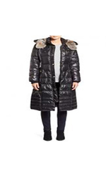 Women's Quilted Coat with Faux Fur Lined Hood - Black - Size: Medium