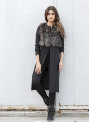 Very J Women's Vegan Fur Jacket Coat - Charcoal - Size: Medium