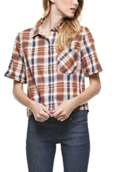 Miss Love Women's Short Sleeve Plaid Top - Blue/Brown - Size: Large