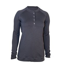 Showers Pass Women's Long Sleeve Bamboo Merino Sport Henley Shirt, Medium, Grey