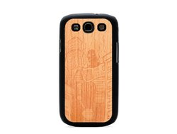 CARVED Matte Black Engraved Cherry Wood Case for Galaxy S3 - Robot Doom