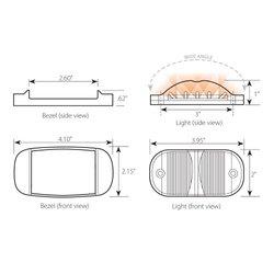 Rectangular Camel Back Wide Angle 14-LED Marker & Clearance Sealed Light