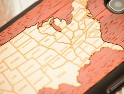 CARVED Matte Black Wood Case for Samsung Galaxy S3 - USA Map