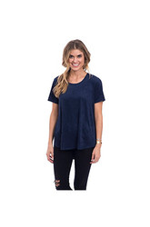 Eyeshadow Women's Faux Suede Tee - Navy Blue - Size: Large