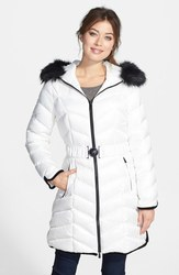 Dawn Levy Women's Hooded Faux Fur Coat - White - Size: Small