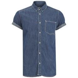 WeSC Men's Eric Short Sleeved Shirt - Simply Blue - Size: Medium