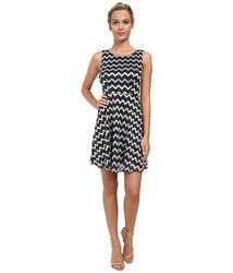 Alejandra Sky Zig Zag Lace Skater Dress - Navy - Size: Medium