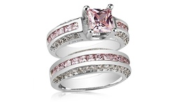 Clear Crystal 2.5CT Women's Pink Sapphire Princess Cut Ring - WG - Size: 8