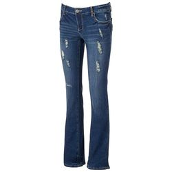 Amethyst Women's Destructed Slim Bootcut Jeans - Denim - Size: 1