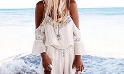 Women's Off the Shoulder Romper - White - Size: XL