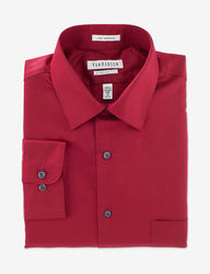 Van Heusen Men's Lux Sateen Regular Fit Shirt - Red - Medium