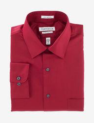 Van Heusen Men's Lux Sateen Regular Fit Shirt - Red - Medium