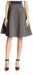 Gracia Women's Colorblock Full Skirt - Grey - Size: Medium