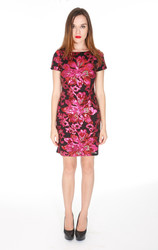 Cap Sleeve Exposed Back Zipper Sequin Dress - Fuchsia - Size: Large