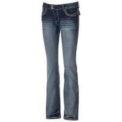 Amethyst Women's Juniors' 2-Button Trumpet Jeans - Ashley - Size: 7