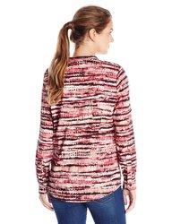 Calvin Klein Women's Printed Crew Neck Sleeve Blouse - Multi - Size: S