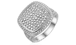 18K White Gold Plated 0.10CTTW Diamond Center Square Ring - Size 9