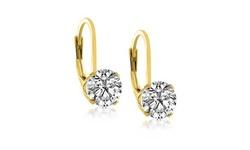 Hoops & Loops 4 CTTW Swarovski Crystal Leverback Earrings - 18k Gold