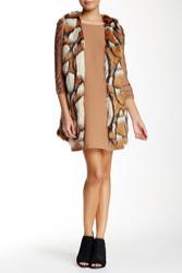 Love Riche Women's Printed Faux Fur Vest - Camel - Size: Large