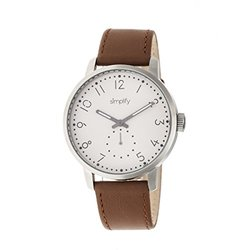 Simplify The 3400 Unisex Watch: Sim3403 Cognac Band-white Dial