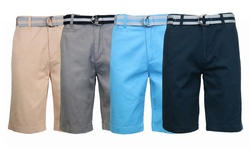 Men's 100% Fine Cotton Twill Flat Front Belted Shorts - White - Size: 32