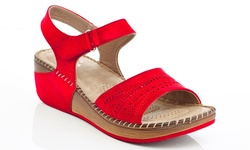 Lady Godiva Comfort Wedge Sandal - Red - Size: 9