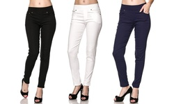 3-Pack Women's Super Stretch Skinny Pants - Black/White/Navy - Size: L/XL