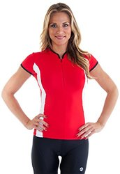 "Alii Lifestyle Women's ""Antoinetta"" Cap Sleeve Mandarin Collar Bike Jersey, Cherry, X-Large"