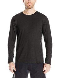 SWRVE Men's Cotton/Modal Long Sleeve Crew Tee, Large, Black