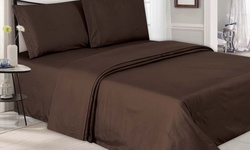 4 Piece Double-Brushed Microfiber Embossed Sheets - Chocolate - Size:Queen