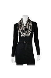 A. Byer Women's Belted Tunic Knit Top w/ Scarf - Black - Size: Large