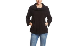 Heather B. Women's Chunky Pullover Sweater with Pockets - Black - Size: S