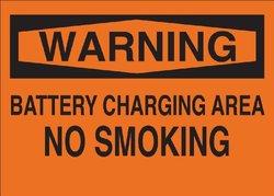 "Brady 69568 Premium Fiberglass No Smoking Sign, 10"" X 14"", Legend ""Battery Charging Area No Smoking"""